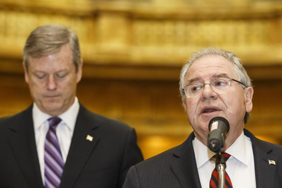 Speaker of the Mass. House Robert DeLeo spoke a news conference as Governor Charlie Baker listened.