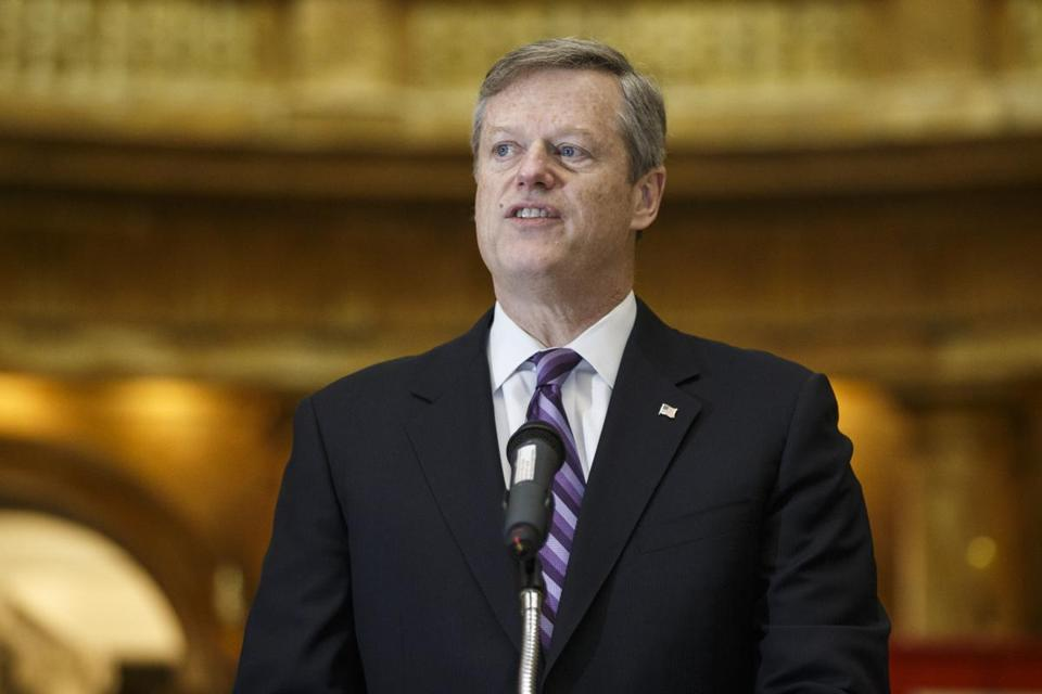 Boston, MA - 2/21/2017 - Massachusetts Governor Charlie Baker speaks during a news conference to announce the state's criminal justice system's review findings at the Massachusetts State House in Boston, MA, February 21, 2017. (Keith Bedford/Globe Staff)
