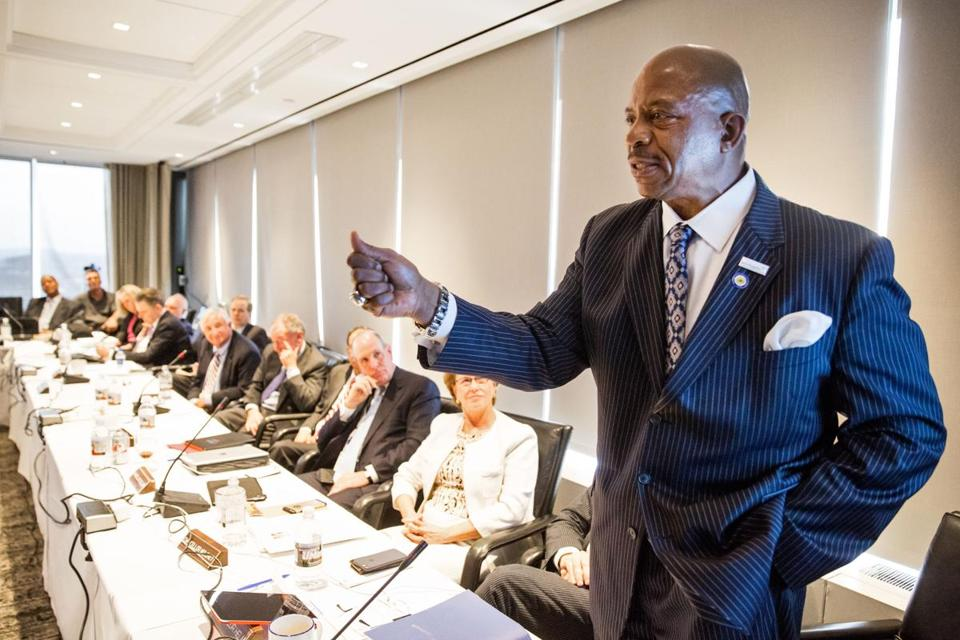UMass Boston Chancellor J. Keith Motley addressed the UMass trustees Tuesday.
