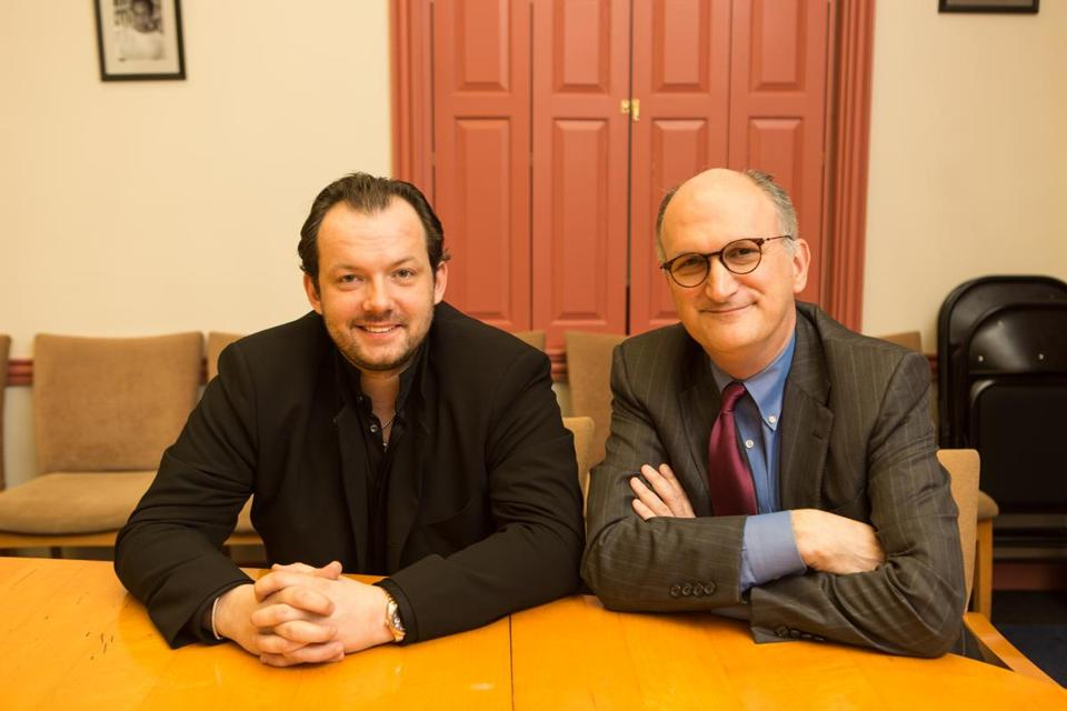 BSO managing director Mark Volpe (right), pictured with music director Andris Nelsons at Harvard in April, is in Japan with Nelsons and the orchestra.