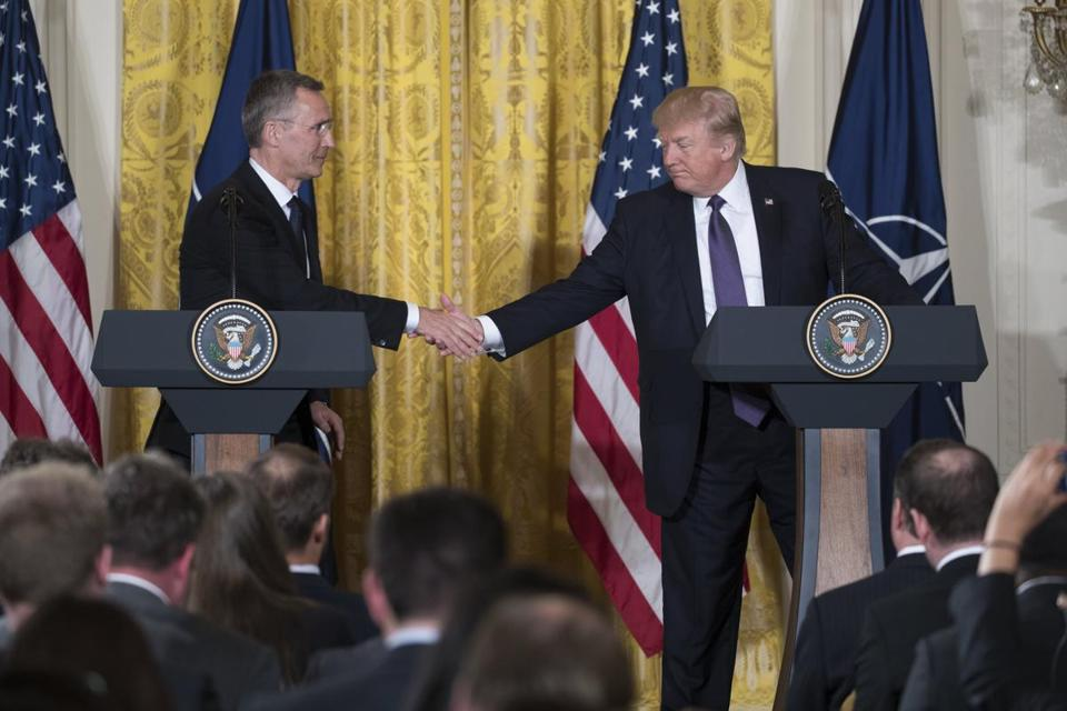 US President Donald J. Trump, right, and NATO Secretary General Jens Stoltenberg participated in a joint press conference in the East Room of the White House in Washington, DC, Wednesday.