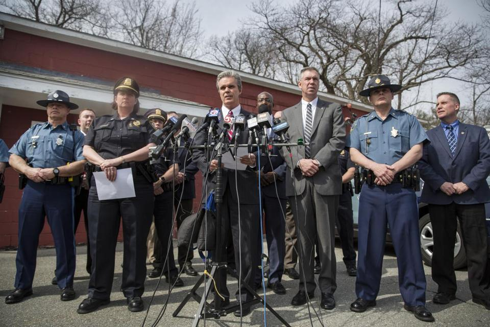 April 15, 2017 | Priceton, MA Press conference at Priceton, Mass police station to announce the suspected killer of jogger Vanessa Marcotte last summer. Angelo Colon-Ortiz is suspected. Pictured center, Worcester county DA Joseph D. Early Jr. To his left, light suit, Richard D Mckeon Kernel of the state police. To Worcester DA right, Priceton police chief, Michele Powers. Kieran Kesner for The Boston Globe.
