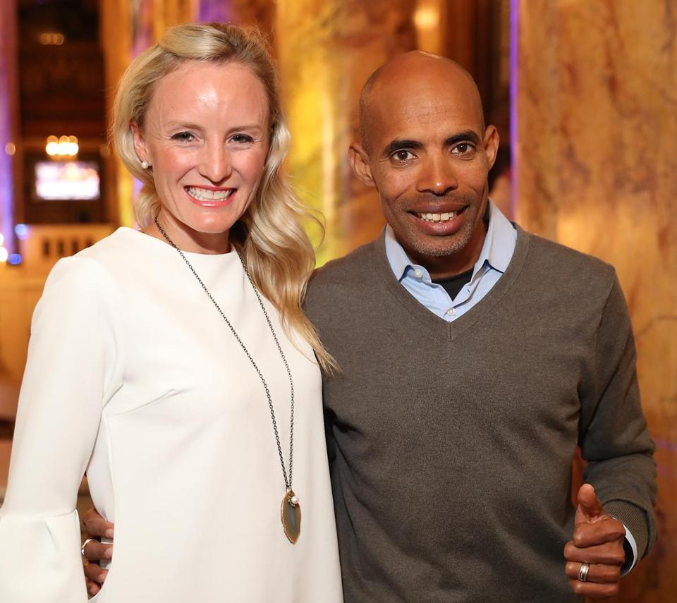 Shalane Flanagan and Meb Keflezighi before last year's race.