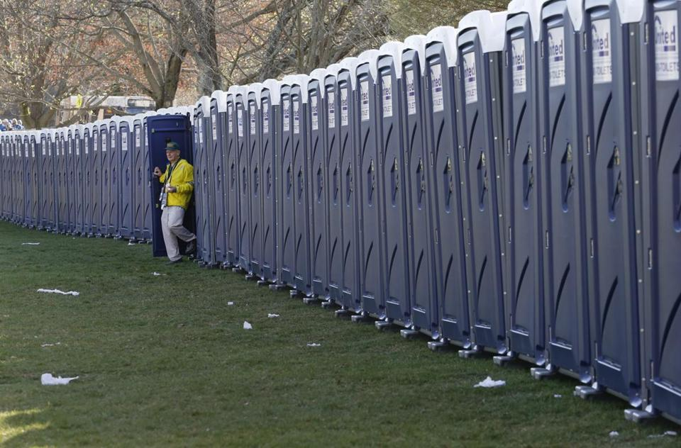 Portable toilets set up on Hopkinton's town common.