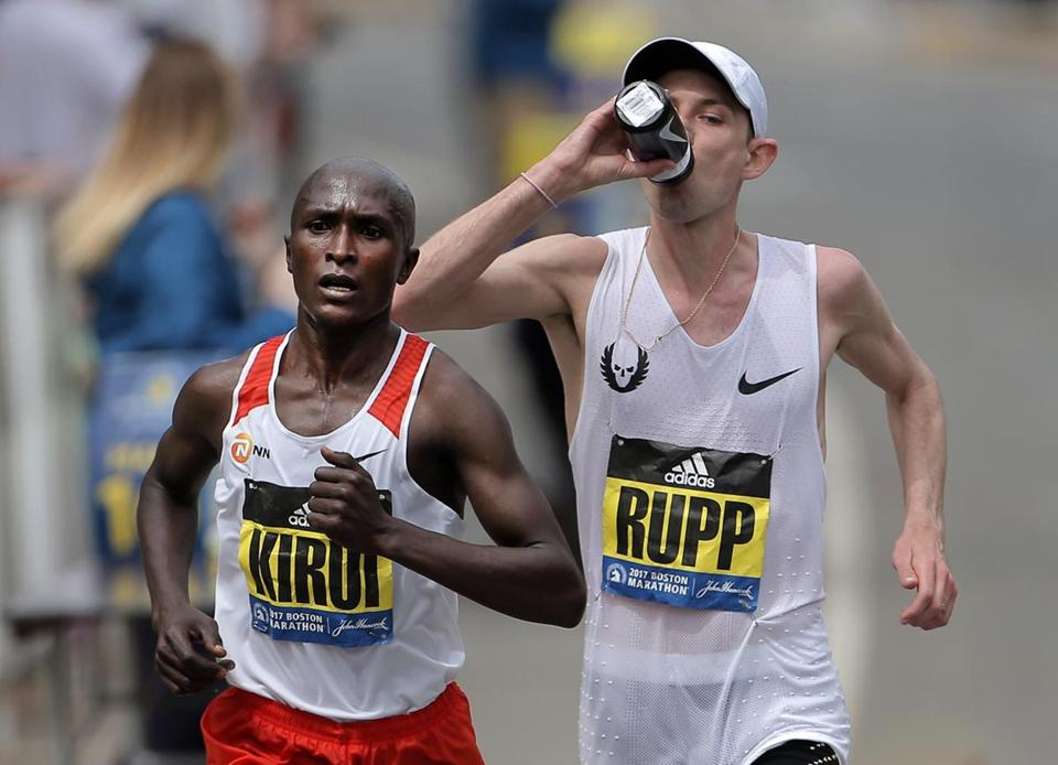 Hopkinton - Boston, MA - 04/017/17 - Abdi Abdirahman and Galen Rupp run alone just before Rupp was dropped at the 22 mile mark in Chestnut Hill at the 121st running of the Boston Marathon. (Lane Turner/Globe Staff) Reporter: (various) Topic: ()