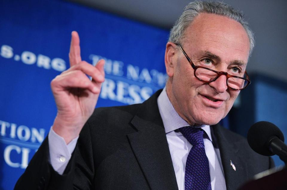 "(FILES) This file photo taken on February 27, 2017 shows Senate Democratic Leader Chuck Schumer during a press conference at the National Press Club in Washington, DC. Senior US lawmakers from both parties expressed support on April 6, 2017, for US President Donald Trump's ordered military strike on a Syrian air base, but some rank-and-file members warned against further action without congressional authorization. ""Making sure Assad knows that when he commits such despicable atrocities he will pay a price is the right thing to do,"" Schumer said in a statement. / AFP PHOTO / MANDEL NGANMANDEL NGAN/AFP/Getty Images"
