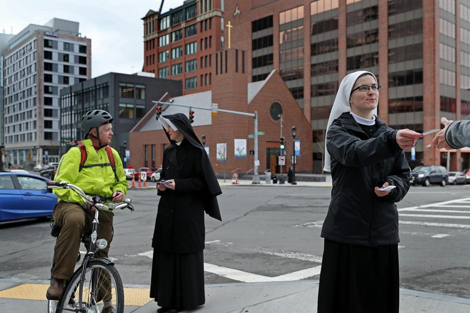 Sister Caterina and Sister Veritas were letting people know the Our Lady of Good Voyage exists.