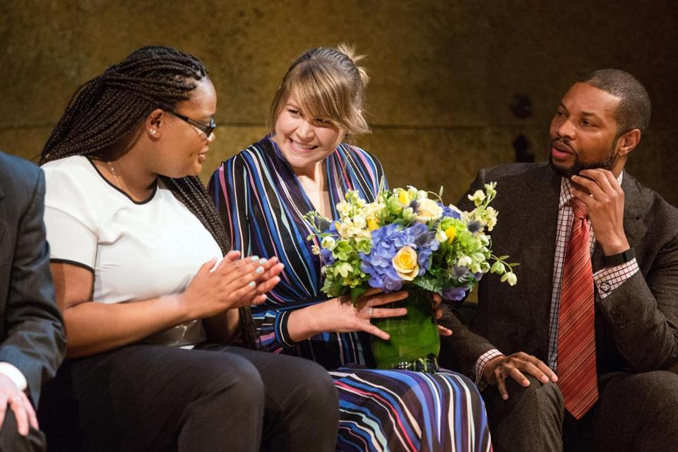 Sydney Chaffee (center) sat with former student Latanya Simpson (left) and Chief of Education Rahn Dorsey during a ceremony honoring Chaffee as the 2017 National Teacher of the Year.
