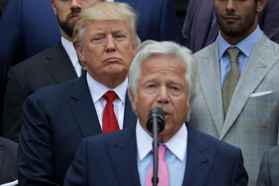 President Trump stood behind New England Patriots owner Robert Kraft as Kraft delivered remarks during an event celebrating the team's Super Bowl win.