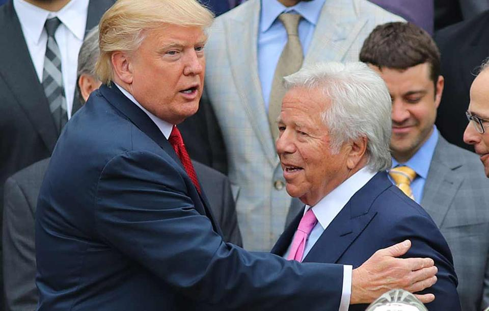 President Trump (left) welcomed Robert Kraft to the White House last week for a ceremony that honored the Super Bowl champion Patriots.