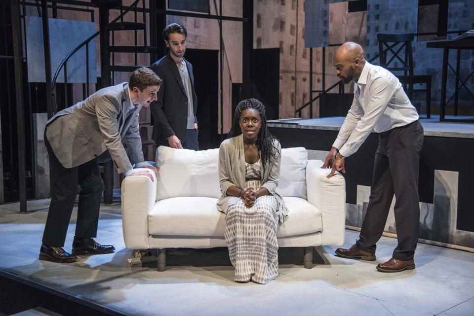 "From left: Alejandro Simoes, Zachary Rice, Obehi Janice, and Maurice Emmanuel Parent in New Repertory Theatre's production of ""The Gift Horse."""