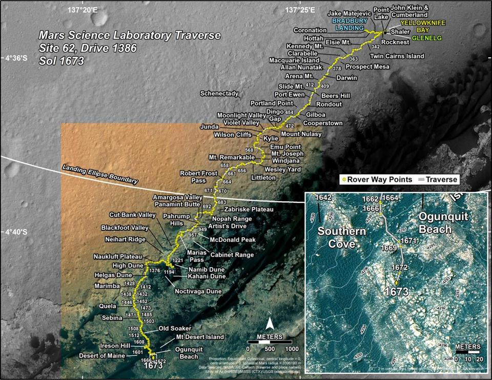 A map shows the route the Curiosity rover has traveled in its exploration of Mars, including 'Bar Harbor,' with Maine-themed landmarks marked at bottom.