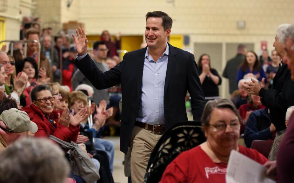 Congressman Seth Moulton arrived for a town hall meeting at North Shore Community College on April 8.