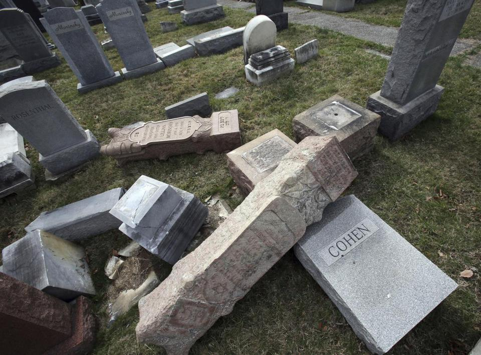 Toppled headstones at Mount Carmel Cemetery in Philadelphia in February.