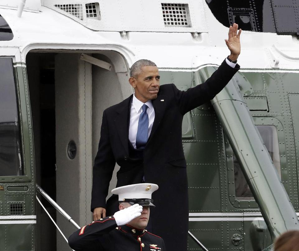 FILE - In this Jan. 20, 2017, file photo, former President Barack Obama waves as he boards a Marine helicopter during a departure ceremony on the East Front of the U.S. Capitol in Washington after President Donald Trump was inaugurated. Obama is scheduled to hold the first public event of his post-presidential life Monday, April 24, 2017, in the place where he started his political career. He will speak at the University of Chicago, where his presidential library is planned. (AP Photo/Evan Vucci, File)