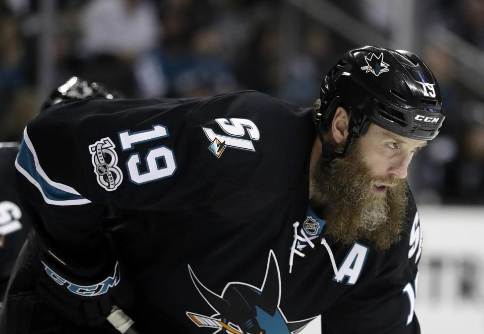 San Jose Sharks' Joe Thornton (19) during the first period of an NHL hockey game against the St. Louis Blues Thursday, March 16, 2017, in San Jose, Calif. (AP Photo/Marcio Jose Sanchez)
