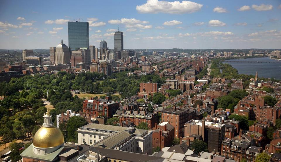 BOSTON, MA - 7/26/2016: A view of the State House, Beacon Hill and John Hancock Towers in the background. skyline aerial (David L Ryan/Globe Staff Photo) SECTION: METRO TOPIC stand alone photo