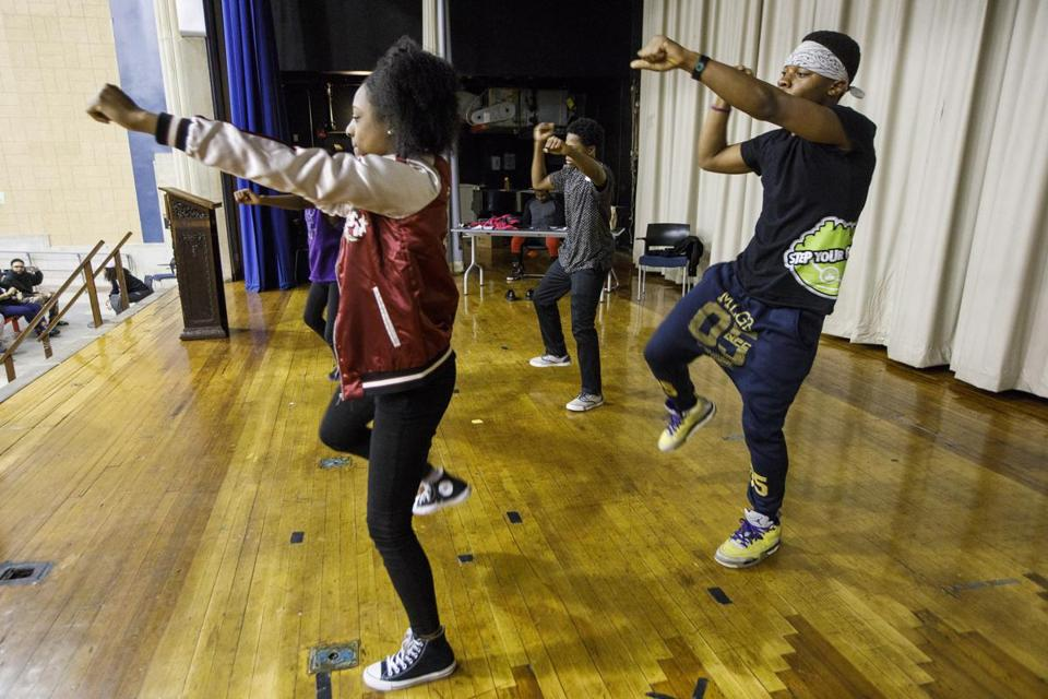 Boston, MA - 4/25/2017 - Performers run through a performance during rehearsal for Teen Empowerment's 25th Annual Youth Peace Conference in Boston, MA, April 25, 2017. (Keith Bedford/Globe Staff)