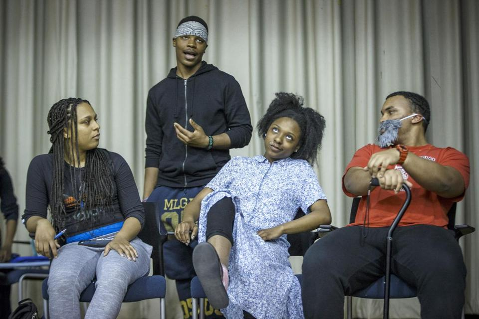 Boston, MA - 4/25/2017 - Performers Taya Hopkins(L), John Turner(2nd L), Carrie Mays, and Carlos Barbosa(R) run through a performance during a rehearsal for Teen Empowerment's 25th Annual Youth Peace Conference in Boston, MA, April 25, 2017. (Keith Bedford/Globe Staff)