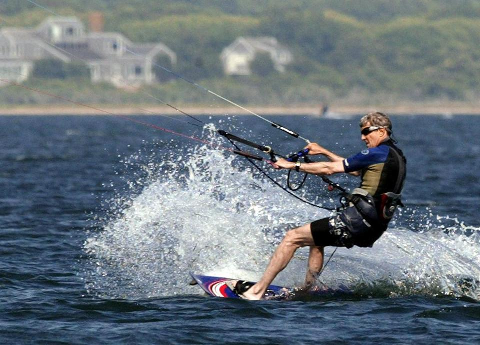 Then-Democratic presidential candidate John Kerry kite surfed in 2004 off the coast of Nantucket.