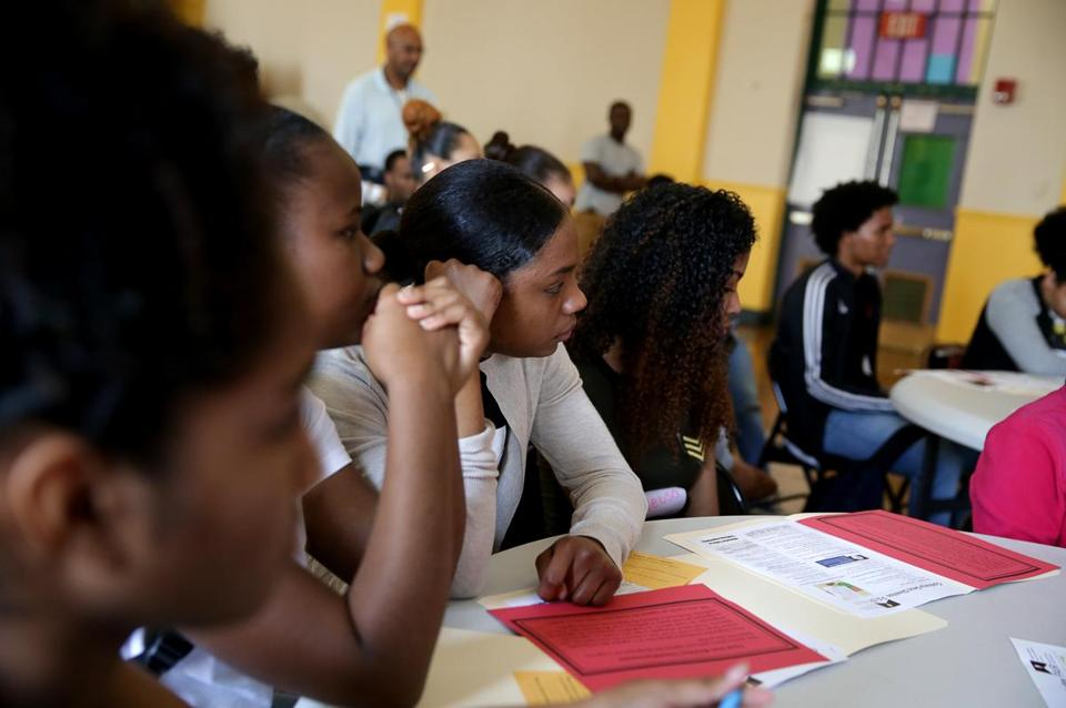 "Boston MA 04/28/2017 Maria Cardoso (cq) age 18 (middle ) was one of the immigrant students at ""Know Your Rights Day"" at Boston International High School. She is from Cape Verde. Globe Staff\Photograph Jonathan Wiggs Reporter:Topic"