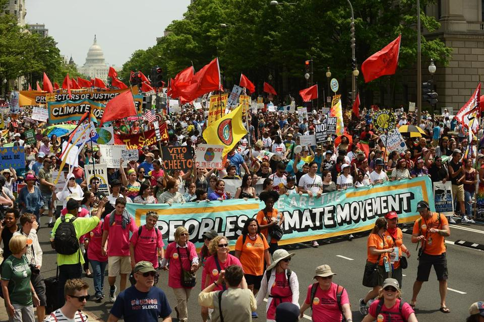 People marched from the US Capitol to the White House Saturday for the People's Climate March to protest President Trump's environmental policies.