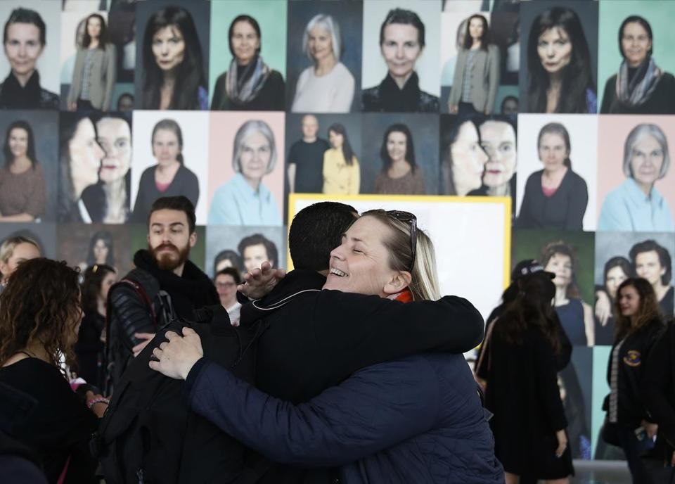 "Sue Flaherty, 44, of South Boston embraced a fellow ""IGersBoston"" member during a meet up at the ICA."