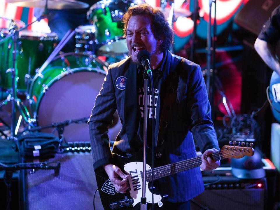Eddie Vedder of Pearl Jam performs during the Hot Stove Cool Music concert.