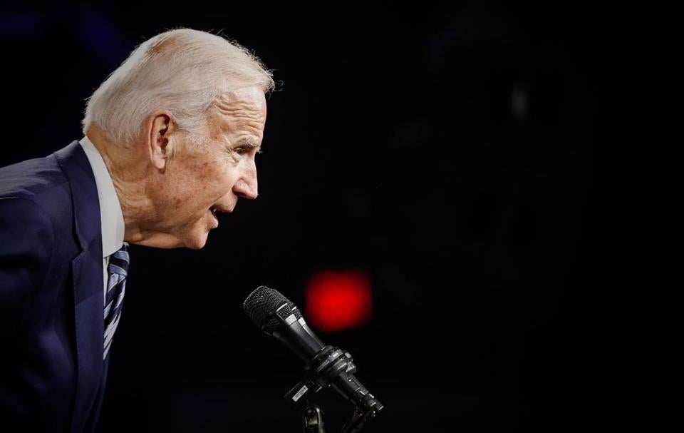 Manchester, NH - 4/30/2017 - Former U.S. Vice President Joe Biden speaks during the annual fund-raising dinner for New Hampshire Democrats in Manchester, NH, April 30, 2017. (Keith Bedford/Globe Staff)