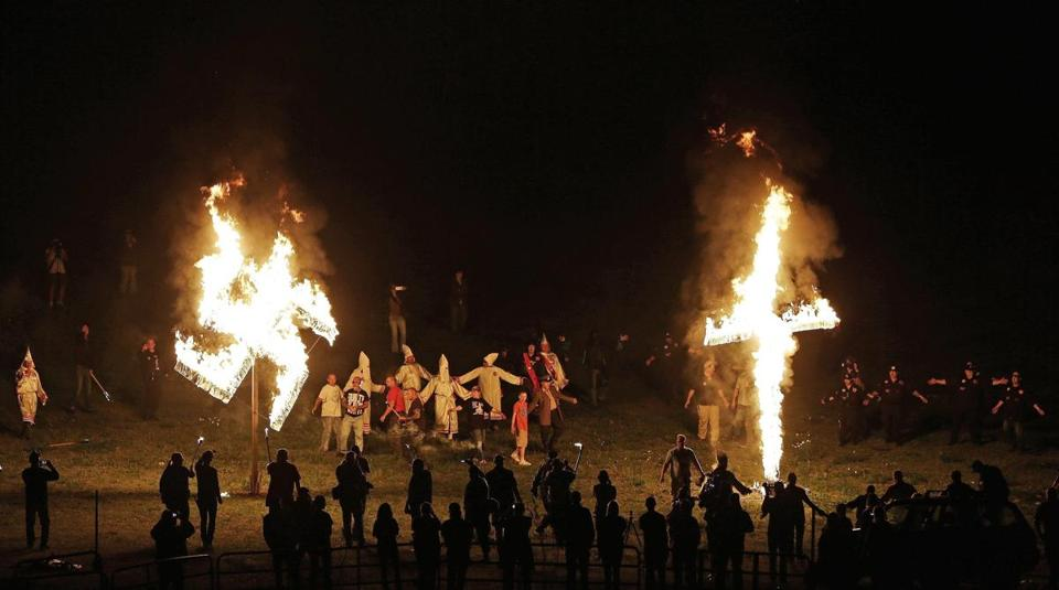 "Klansmen participated in cross and swastika burnings last year after a ""white pride"" rally in rural Georgia. Six Klan organizations from around the country announced a consolidation last month."