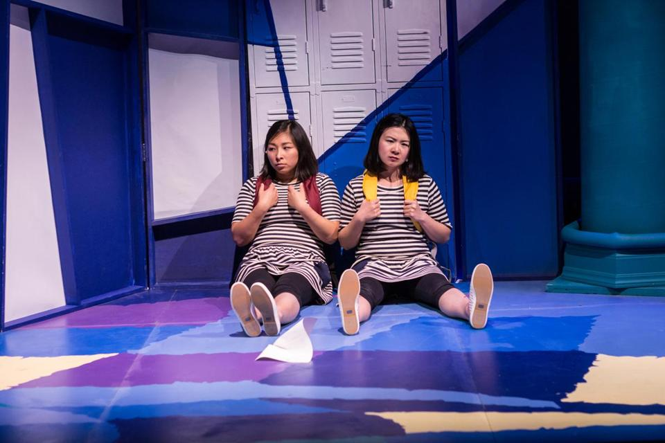 "Kim Klasner as M and Khloe Alice Lin as L in ""Peerless"" at Company One Theatre."