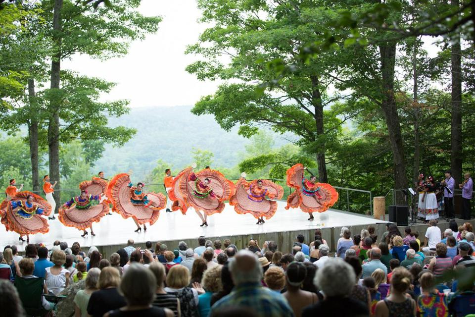 Spectators enjoy a free performance at Jacob Pillow's outdoor dance series, Inside/Out.