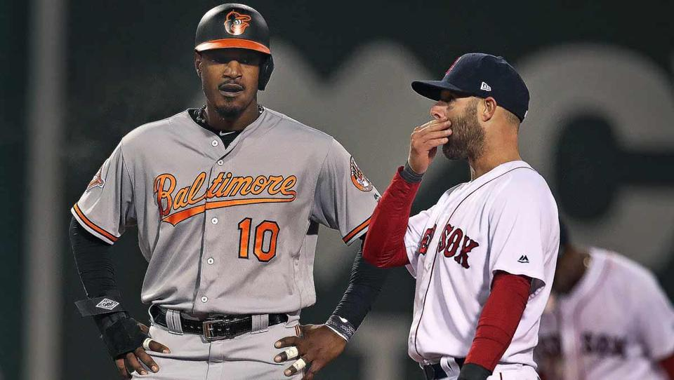 Orioles outfielder Adam Jones (left) spoke with Dustin Pedroia during Monday's game.