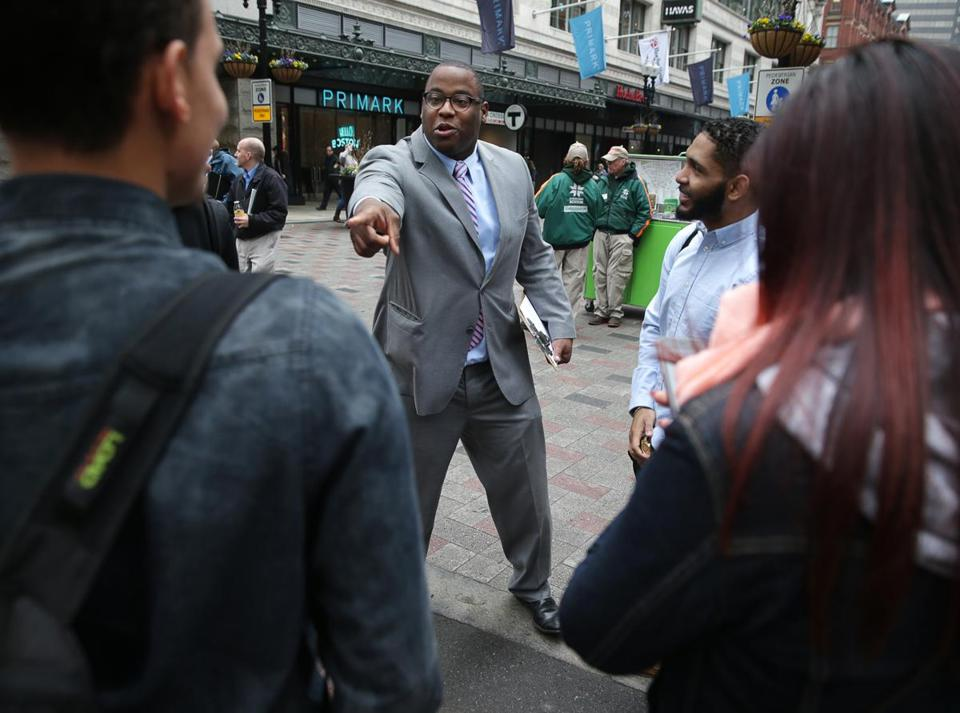 05/02/2017 Boston City Councilor Tito Jackson (cq) was collecting signatures in Downtown Crossing, so his name can be placed on mayoral ballot. He is running for Mayor of Boston. Boston Globe Staff\Photograph Jonathan Wiggs Reporter:Topic