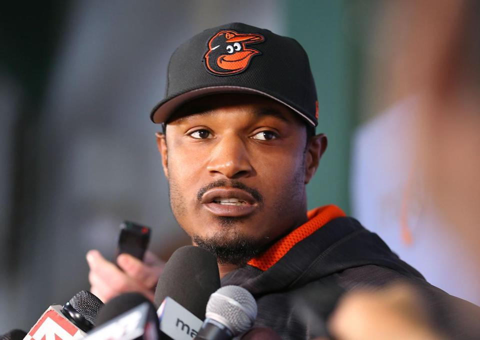 Baltimore Orioles Adam Jones at a press conference Tuesday.