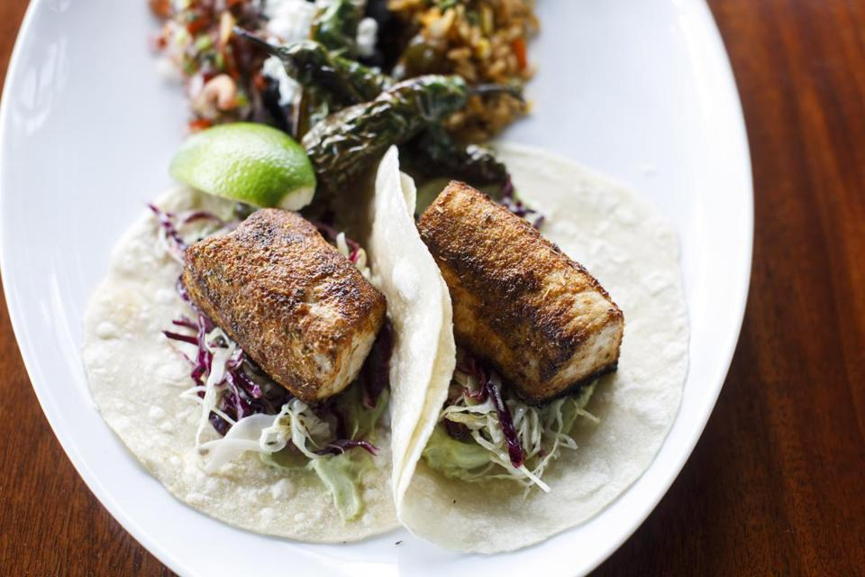 Boston, MA - 5/2/2017 - An order of swordfish tacos sits on a table at ReelHouse in Boston, MA, May 2, 2017. (Keith Bedford/Globe Staff)