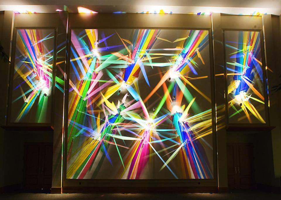 "for 051417knapp --- ""First Symphony"" --- Artist Stephen Knapp paints with light. The Princeton artist shapes and manipulates colored glass to form his signature artwork: starbursts of color that refract light day and night. ( CREDIT: Stephen Knapp )"
