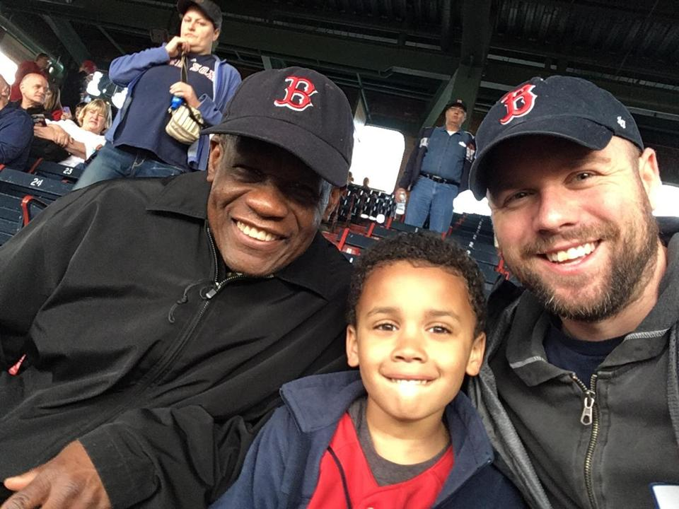 This is (right to left) Calvin Hennick, his six-year-old son, Nile, and Hennick's father in law, Guy Mont-Louis. They were attending Tuesday night's game at Fenway Park..