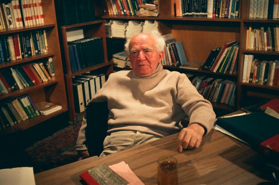 "David Ben-Gurion on the set of the 1968 interview that led to ""Ben-Gurion, Epilogue."""