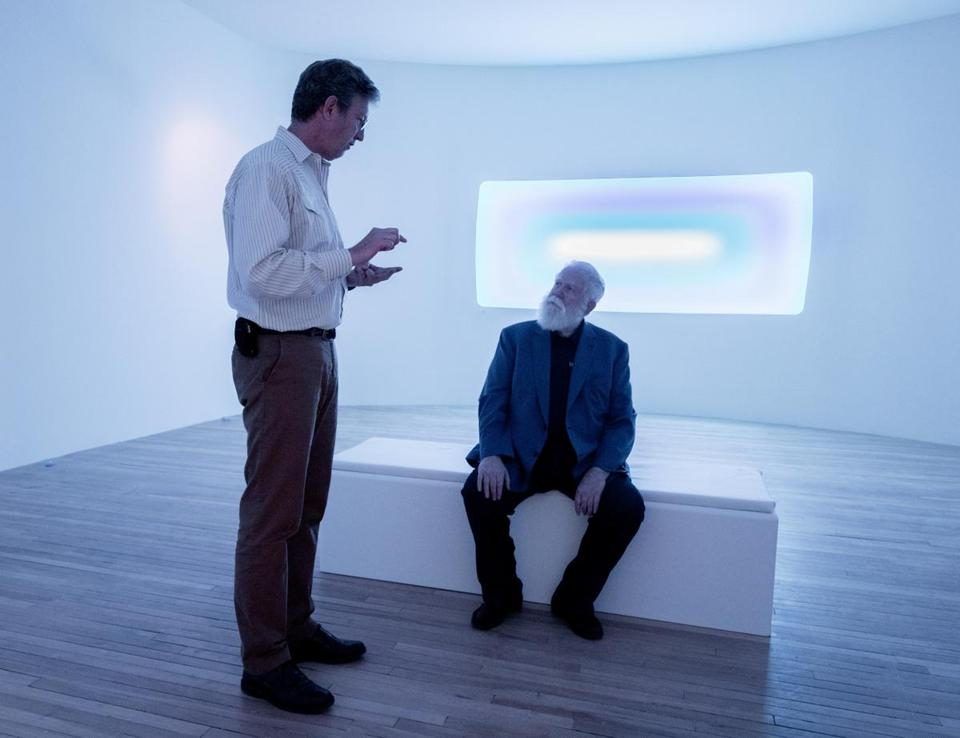ames Turrell (right) with Mass MoCA director Joseph C. Thompson at the museum.