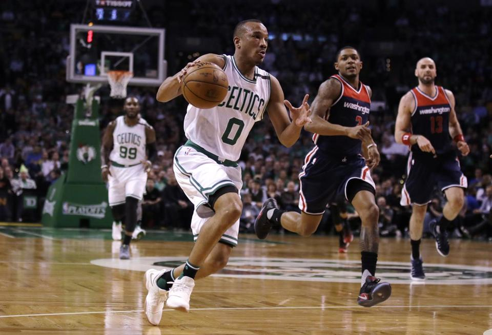 Boston Celtics guard Avery Bradley (0) drives during the first quarter of a second-round NBA playoff series basketball game in Boston, Tuesday, May 2, 2017. (AP Photo/Charles Krupa)