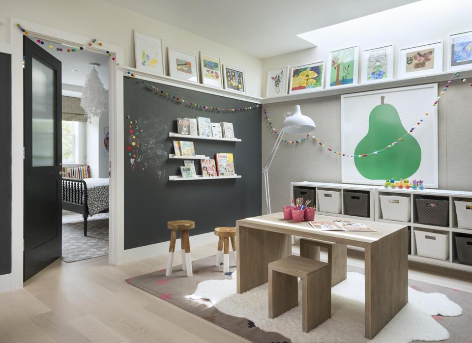 Designer Kristine Irving turned the playroom into an art gallery.