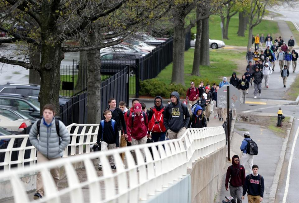 05/05/2017 Boston Ma Boston College High School Male students leave their school. The school may be considering admitting female students. Boston Globe Staff\Photograph Jonathan Wiggs Reporter:Topic