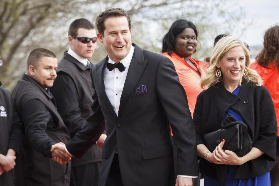 Boston, MA - 5/7/2017 Congressman Seth Moulton shakes hands with greeters as he arrive for the annual John F. Kennedy Profile in Courage Award at the the John F. Kennedy Presidential Library and Museum in Boston, MA, May 7, 2017. Former U.S. President Barack Obama was the recipient of the award. (Keith Bedford/Globe Staff)