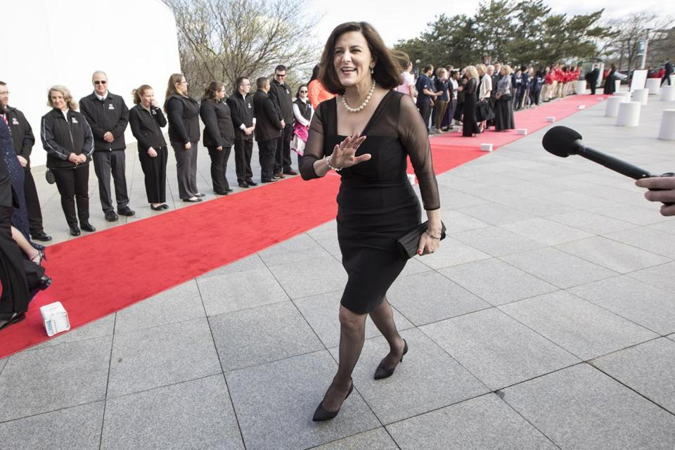 Boston, MA - 5/7/2017 - Vicki Kennedy waves from the red carpet as she arrives for the annual John F. Kennedy Profile in Courage Award at the the John F. Kennedy Presidential Library and Museum in Boston, MA, May 7, 2017. (Keith Bedford/Globe Staff)