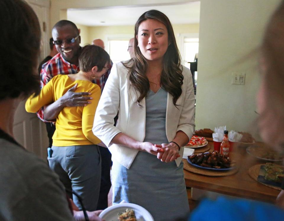 Boston, MA May 4, 2017: Jessica Tang, a candidate for president of the Boston Teacher's Union is pictured at a house party in Dorchester. (Globe Staff Photo/Jim Davis)