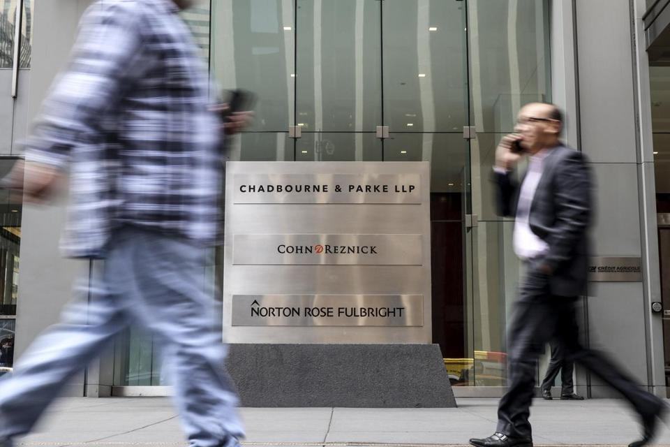 The office of Chadbourne & Parke in New York. Three female partners of the law firm are suing the company, asking $100 million for sex discrimination and pay inequity.