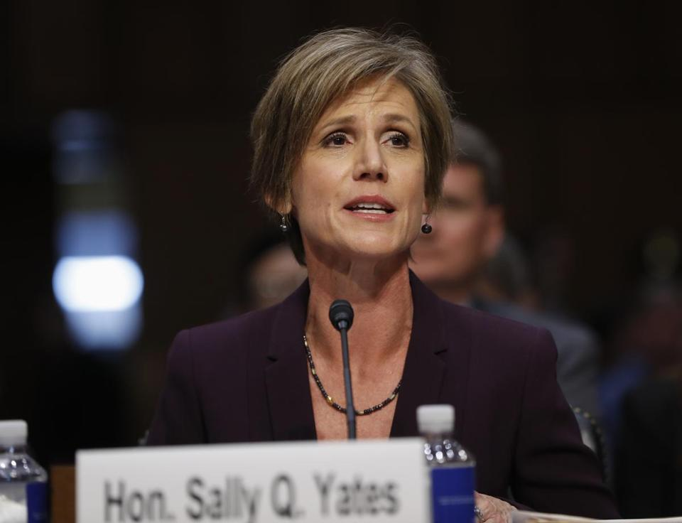 Former acting Attorney General Sally Yates testified Monday on Capitol Hill.