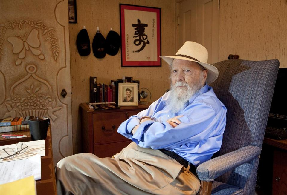 "Herman Wouk, a 97-year-old author, at his home in Palm Springs, Calif., Nov. 6, 2012. Wouk's newest book, ""The Lawgiver,"" weaves a comedic yarn using letters, text messages, memos, Variety articles, e-mails and Skype transcripts to tell the story. (Stephanie Diani/The New York Times)"