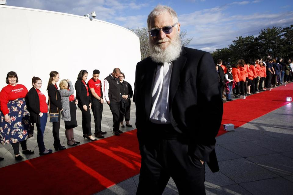 Comedian David Letterman sported a beard on the red carpet.